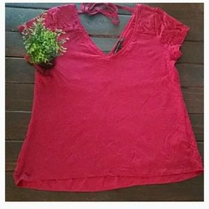 WHBM Red Lace VNeck Scallop Top Blouse Sz Small